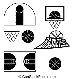 Basketball objects. Ball used for playing a basketball game. Basket for throwing balls. Sports symbols. Basketball Play Court Design. Sports Objects. Digital Vector Illustration.