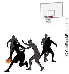 basketball game silhouettes
