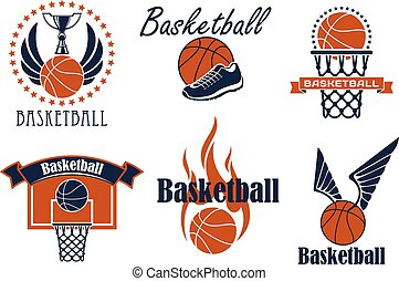 Basketball game sport icons and symbols