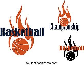 Basketball game symbols with flaming balls