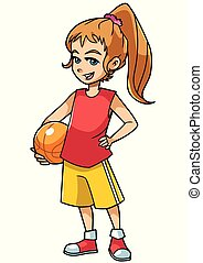 Basketball Girl On White