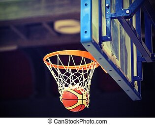 basketball going into the basket after a cool shot