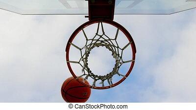 Basketball going through basketball hoop 4k