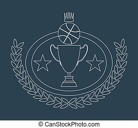 Basketball Golden Goblet and Crown Lineart