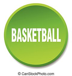 basketball green round flat isolated push button