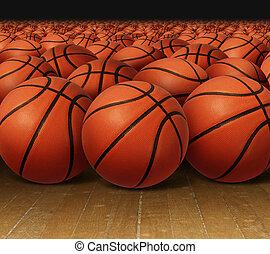Basketball Group - Basketball group on a hardwood court...