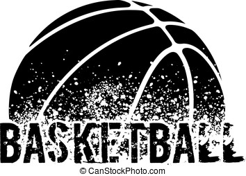 Basketball Grunge - silhouette of an a basketball with dirt...