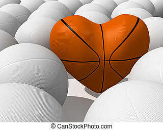 Basketball - Heart shape and collection of sport balls
