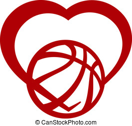 Basketball Heart - Red stylized basketball wrapped in the...