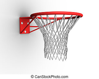 3d image of a basketball hoop with net.