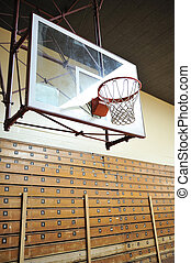 Basketball Hoop - A basketball hoop with a glass backboard ...