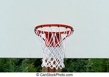 Basketball hoop - A basketball hoop with net