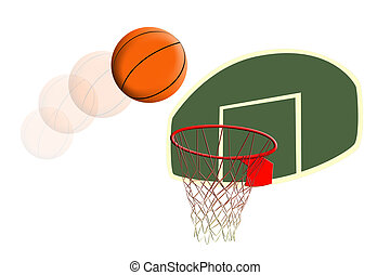 a clip art image of a basketball going into a hoop