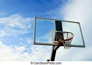 Basketball hoop - A shot of an outdoor basketball hoop