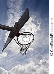 Basketball hoop against a cloudy sky.