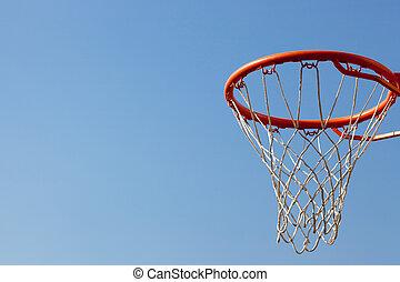 Basketball hoop against blue skies with backboard. Concept ...