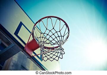 Basketball hoop against blue sky