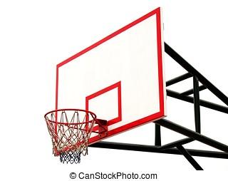 Basketball Hoop - -- and backboard seen against a white...