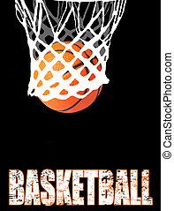 Basketball hoop and ball on black, vector illustration