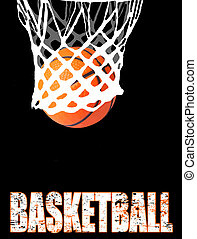 Basketball hoop and ball on black, vector illustration