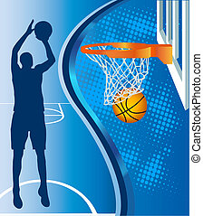 Basketball hoop and basketball silhouette on blue background