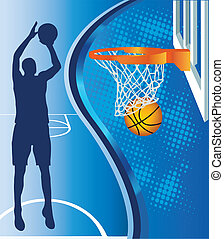 Basketball hoop and basketball silhouette on blue background...