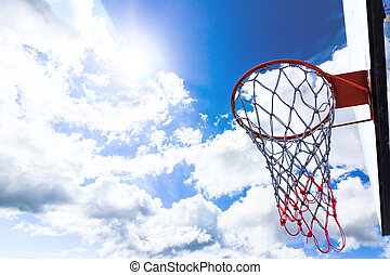 basketball hoop and blue sky.