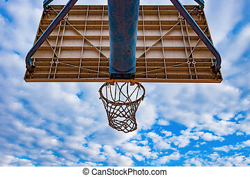 basketball hoop and board under blue sky