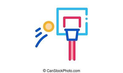 basketball hoop and flying ball Icon Animation