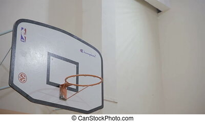 basketball hoop and goal in hall