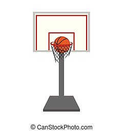 Basketball hoop and net with a ball