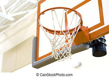 Basketball Hoop at High School Gymnasium.