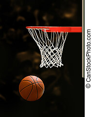 basketball hoop - Basketball board and basketball ball on...