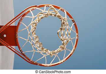 Basketball Hoop - Basketball hoop against blue sky