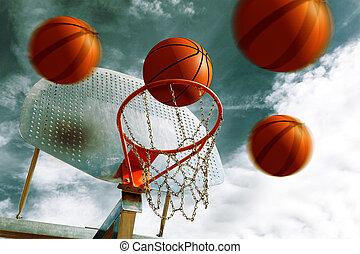 Basketball hoop. - Basketball hoop and several balls. Sport...