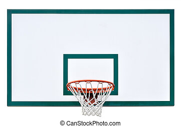 Basketball hoop cage, isolated large backboard closeup, new