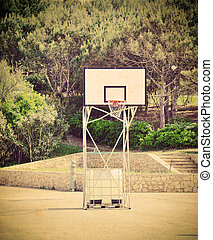 basketball hoop in a vintage playground