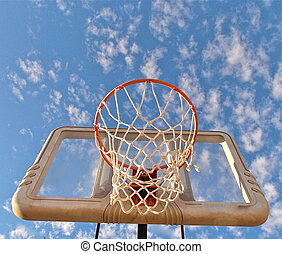 Basketball hoop in the clouds