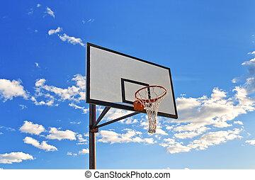 Basketball hoop in the street