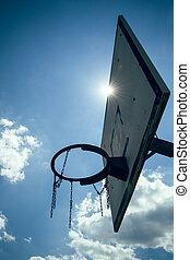 Basketball hoop in the sun