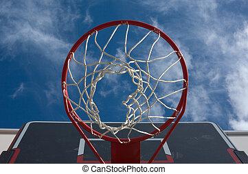 Basketball hoop - New basketball hoop from below against a...