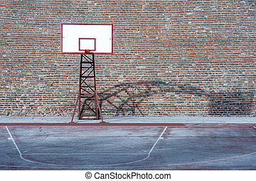 Basketball Hoop, old red wall background