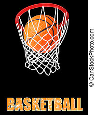 Basketball hoop on black background, vector illustration