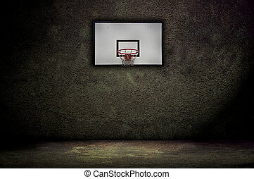 Basketball hoop on empty outdoor court