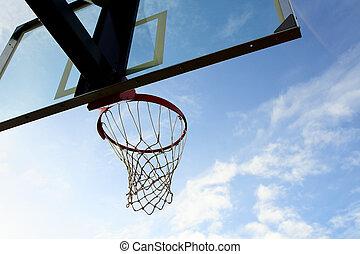 Basketball hoop - Outdoor basketball hoop on a cloudy day