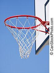 basketball hoop over a blue sky