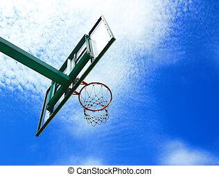Basketball hoop, street basketball under clear blue sky