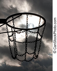 Basketball hoop - Team playing sport basketball hoop and net...