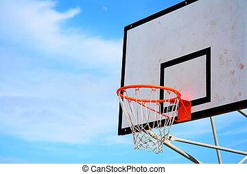 basketball hoop under a clear sky