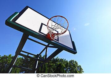 Basketball hoop with clear blue sky